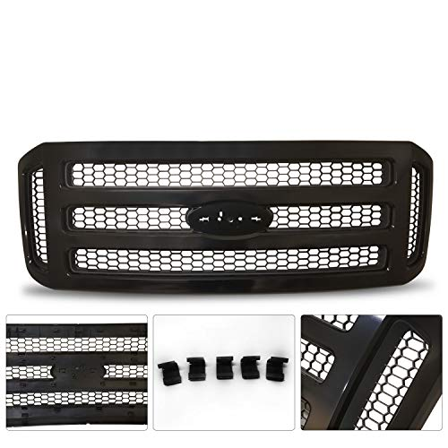 F450 Super Duty Grille Assembly - Make Auto Parts Manufacturing Black Grille Assembly With Gray Honey Comb Insert For Ford SuperDuty Pickup F-Series F250 F350 F450 F550 2005 2006 2007 - FO1200472