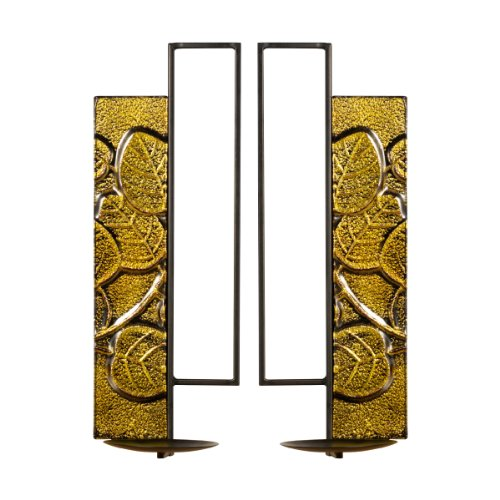 - Elements Green Embossed Panel Pillar Sconces, 13-Inch, Set of 2