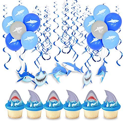 Amazon.com: KREATWOW Shark Party Decorations Shark Hanging ...
