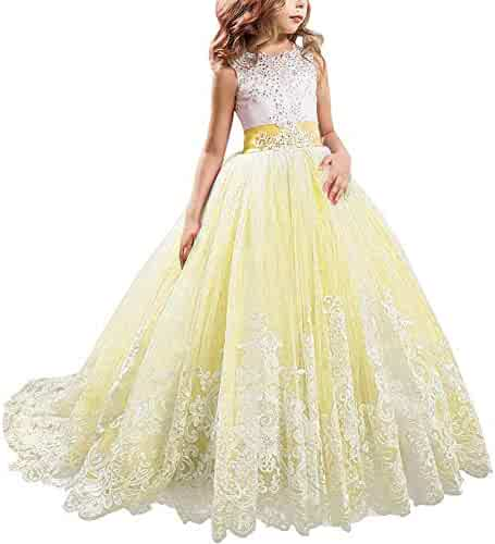 2958d0eaf KSDN Wedding Flower Girls Dress Lace Tulle Communion Pageant Gown with Bow