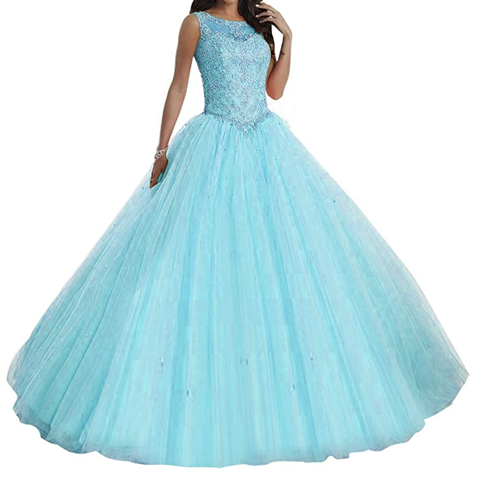 bluee TuanYuan Sweet Girls 15 16 Ball Gowns Lace Tulle Women Quinceanera Dresses