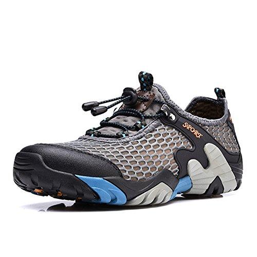 CraneLin Men's Outdoor Hiking Shoes for Men Walking Sneaker Boating Water & Trail Shoes CRHW2031-Grey-46