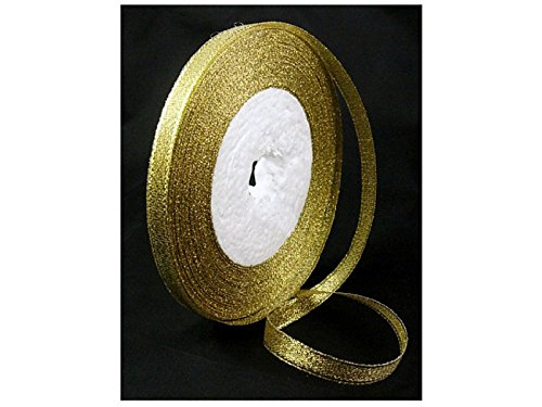 Premium GLITTER METALLIC Sparkle RIBBON, Diy Material for Organza Bow - Gold Color - Size 1/4