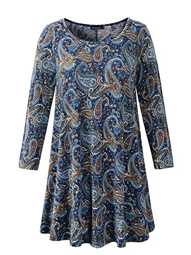 Veranee Women's Plus Size Swing Tunic Top 3/4 Sleeve Floral Flare T-Shirt (X-Large, 16-24)