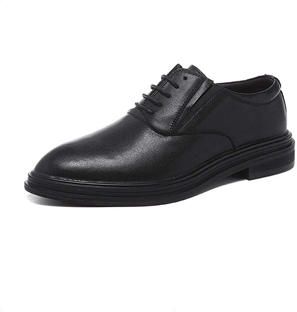 MUZIWENJU Oxford Business Men Lace Dress Shoes Increased Microfiber Pison Tight Pointed Toe Breathable Lining Plain Hidden Height Color : Black, Size : 10.5 M US