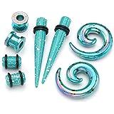 Jovivi 8pc Stretching Kit Turquoise Green Arcylic Taper & Tunnels & Spiral Snail Plugs Expander Gauges 0G Set
