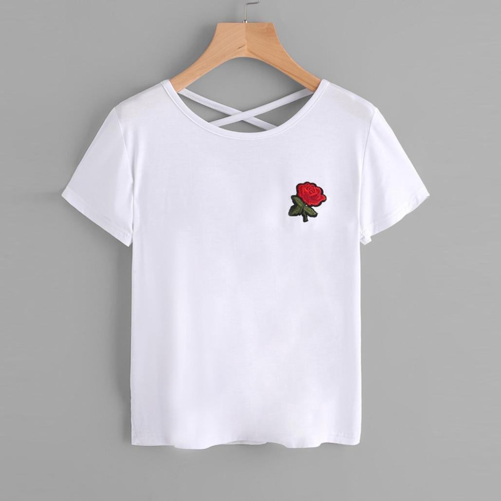 Cinnamou Camiseta para Mujer, Verano Camisetas Cortas Manga Corta Mujer Bordado de Rosas Camisas de Mujer Redondo Camisas Casual Blusas Tops T-Shirt 2018 ...