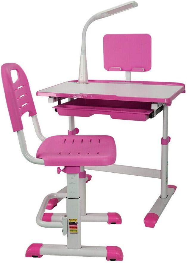 MOMOJA Table de Bureau Ergonomique pour Enfant avec Lampe et Chaise Hauteur R/églable Rose