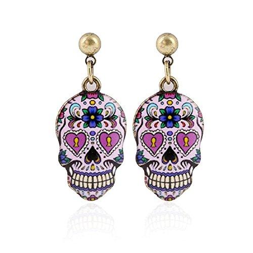 Pizazz Studios Sugar Skull Dangle Earrings Pink Gold Tone