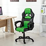 Belleze Racing Style Executive Desk Chair Swivel Office Computer Task High-back Gaming Pu Leather Seat, Black/Green