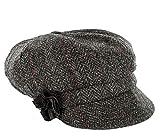 Mucros Weavers Ladies Newsboy Hat Charcoal Herringbone