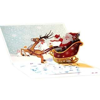 Confezione da 3biglietti di Natale set 3D pop-up biglietto di auguri per Natale, festa, compleanno, Thank You, anniversario e più incluso forma di albero, pupazzo di neve, renna, bell
