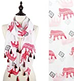 StylesILove Tribal Elephant Infinity Scarf with Tassels, 2 Colors (Red/White)