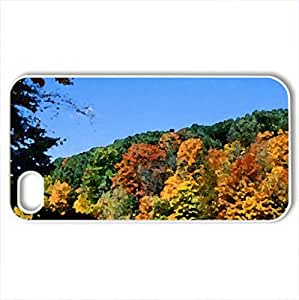 lintao diy Autumn forest - Case Cover for iPhone 4 and 4s (Forests Series, Watercolor style, White)