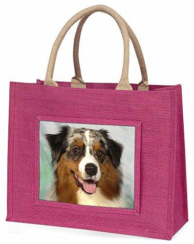 Advanta ad-as1blp Australian Shepherd Hund Große Einkaufstasche Weihnachten Geschenk Idee, Jute, Rosa, 42x 34,5x 2cm