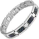 Willis Judd Mens Titanium Magnetic Bracelet With Blue Carbon Fibre In Black Velvet Gift Box + Free Link Removal Tool