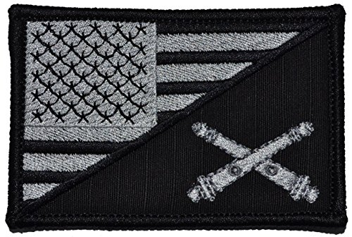 Field Artillery Cannoneer USA Flag 2.25 x 3.5 inch Morale Patch - Black