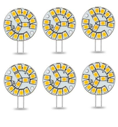 Best to Buy (6-PACK) Ceramic 2.4Watt T4 G4 DISC puck LED 15SMD 2835LED, White (Jc10 Bi-pin 15-18W Replacement) for RV Campers, Trailers, Boats, and Under-cabinet Light (White Ceramic Disk)
