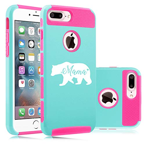 - Shockproof Impact Hard Soft Case Cover for Apple (iPhone 7 Plus/iPhone 8 Plus) Mama Bear Mom Mother (Light Blue-Hot Pink)