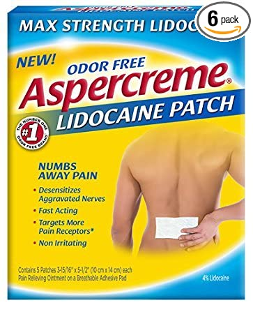 Aspercreme Max Strength Pain Relieving Lidocaine Patch , 3 94 x 5 5 -Inch  (5 Count) - Pack of 6