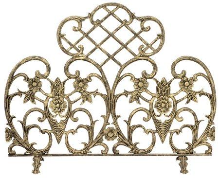 Single Panel Antique Gold Cast Aluminum Fireplace - Screen Fireplace Aluminum Gold Cast