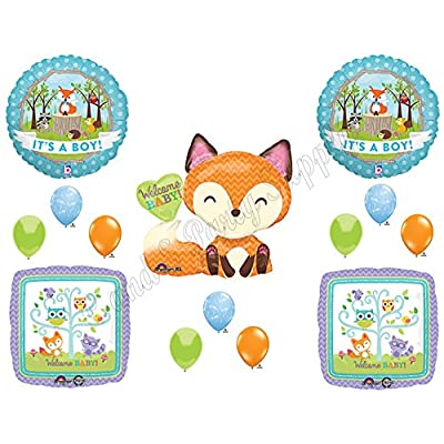 It's A Boy Woodland Friends Baby Shower Balloons Decoration Supplies Fox Chevron by Anagram: Toys & Games