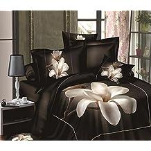 Charming Queen Size Bedding Set White Magnolia Flower 3D Digital Printed 4-Piece 100% Cotton Duvet Quit Cover Set Bed Cover Set