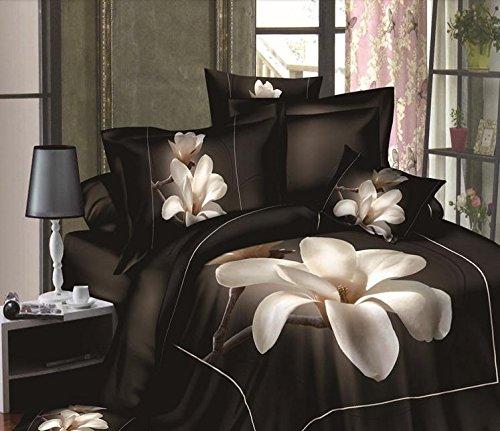 Bedding Set White Magnolia Flower 3D Digital Printed 4-Piece 100% Cotton Duvet Quit Cover Set Bed Cover Set (Magnolia Comforter Set)