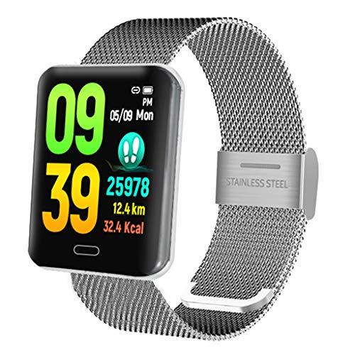 Blood Pressure Smart Watch, B8 Heart Rate Monitor Smart Watch Sports Fitness Smart Bracelet IP67 Watherpfoof (Silver)]()