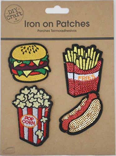 DIY Craft Iron On Patches - Hamburger, Hot Dog, Fries and Popcorn Food Medley ()