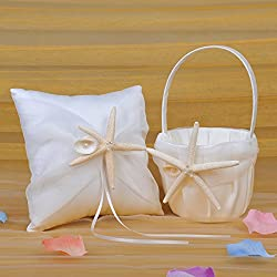Remedios Satin and Organza Ivory Wedding Ring Pillow and Flower Girl Basket Set with Starfish