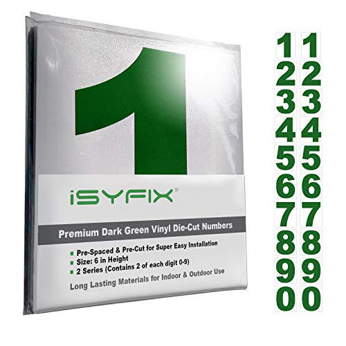 (Drak Green Vinyl Numbers Stickers - 6 Inch Self Adhesive - 2 Sets - Premium Decal Die Cut & Pre-Spaced for Mailbox, Signs, Window, Door, Cars, Trucks, Home, Business, Address)