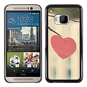 Slim Design Hard PC/Aluminum Shell Case Cover for HTC One M9 Love Minimalist Heart / JUSTGO PHONE PROTECTOR