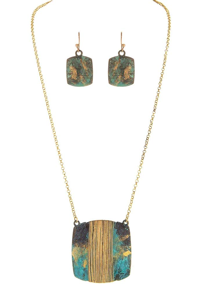 RAIN Women's Necklace & Earring Set Faux Patina Wrapped Square Boho Style