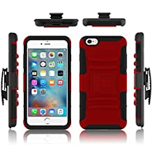 iPhone 6 case, Febe iPhone 6 Dual Layer Kickstand Case, Shockproof Hybrid Rugged Hard Soft Ultra Slim Fit Belt Clip Hostler Cover Case for iPhone 6 4.7 Inch - Hot Red
