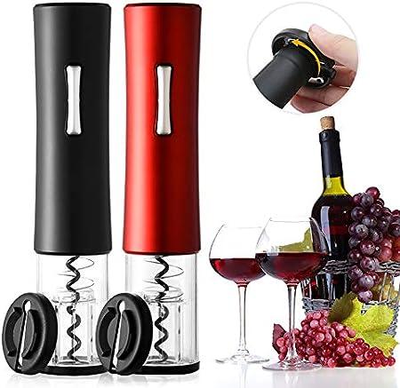 Gecheer Sacacorchos Eléctrico de Acero Inoxidable, Abridor Automático de Botellas de Vino con luz LED de Control, Sacacorchos Automático para Vino con Carga USB ( Rojo )