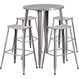 Flash Furniture 30'' Round Silver Metal Indoor-Outdoor Bar Table Set with 4 Saddle Seat Stools