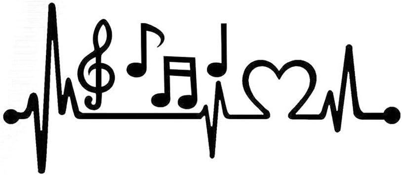 Dandeliondeme Musiknote Elektrokardiogramm Herzschlag Auto Styling Fenster Laptop Aufkleber Für Notebook Skateboard Gepäck Macbook Fahrrad Stoßstange Schwarz Auto