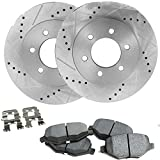 #3: Detroit Axle - Drilled & Slotted Front Brake Rotors & Ceramic Pads w/Clips Hardware Kit for 08-15 Escalade, EXT,ESV - [08-15 Sierra/Silverado 1500] - [08-15 Suburban, Yukon, Avalanche]