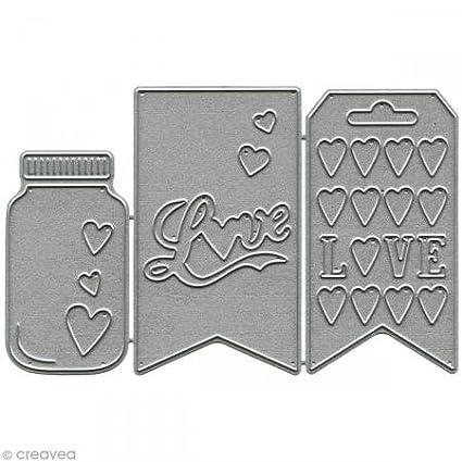 Florilèges FDD11418 Cutting Tool Design Scrapbooking pieno d'amore Nero 11, 5 x 12 x 1, 4 cm Florilèges Design