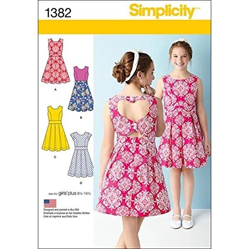8-10-12-14-16 Simplicity Creative Patterns 1382 Girls and Girls Plus Dress with Back Variations AA