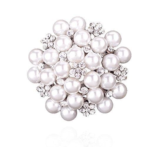Pearl Womens Brooch - Elegant Pearl Floral Crystal Brooch Pin for Wedding Bridal(Silver)