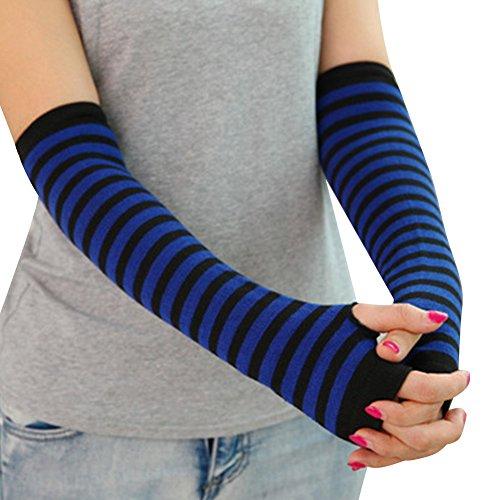 CHN'S Unisex Knitted Crochet Long Glove Winter Warm Stretchy Arm Fingerless Mitten (Free Size, Stripe-Dark Blue) (Stripe Arm)