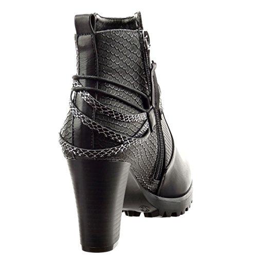 Sopily - Scarpe da Moda Stivaletti - Scarponcini alla caviglia donna pelle di serpente tanga metallico Tacco a blocco tacco alto 8 CM - Nero