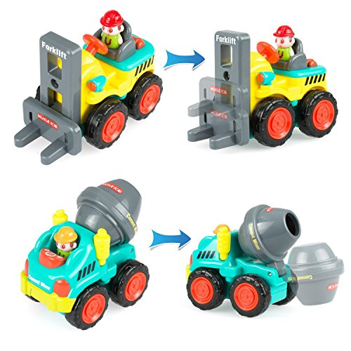 Sliding Toy Cars, Pocket Construction Vehicles Trucks Toy Set of 6 for Over 18 Months Old Boys Toddlers Kids - Bulldozer, Cement Mixer, Dumper, Forklift, Excavator and Road Roller