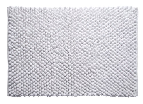 Better Trends / Pan Overseas Chenille Rocks 215 GSF 100-Percent Cotton Chenille Hand-Woven Luxury Bath Rug, 24 by 36-Inch, White