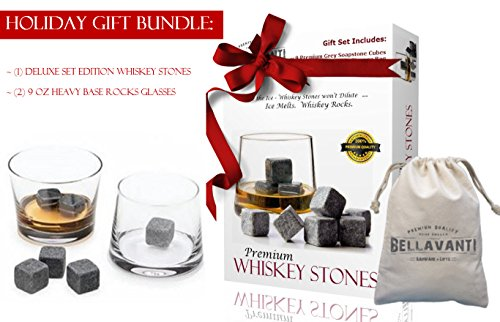 GIFT BUNDLE - THE Best Whiskey Stones Gift - Black Whiskey Ice Stones