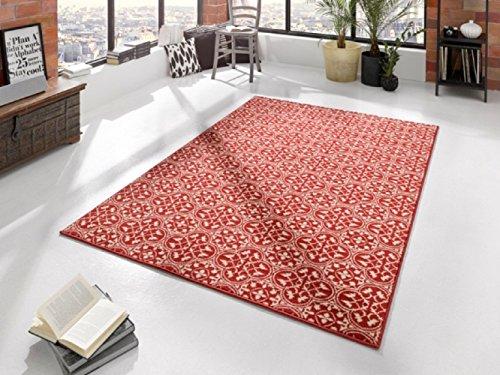 Teppich rot / beige / moderner Teppich / Blumenmuster / Koralle / Wohnzimmerteppich / Wohnzimmerteppich 160 x 230 cm
