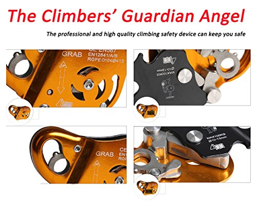 Geelife Professional Rock Climbing Ascender Fall Arrest Protection Belay Device Orange Movable Self locking Rope Grip Ascender for Outdoor Climbing and Rescue 22KN