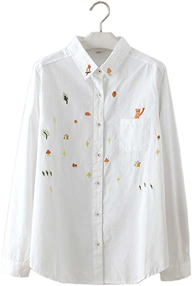 Camisa Blanca Simple Blusa Bordada Mujer Blusas Manga Larga Blusas, 01: Amazon.es: Ropa y accesorios